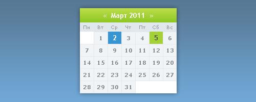 Красивый календарь для ucoz